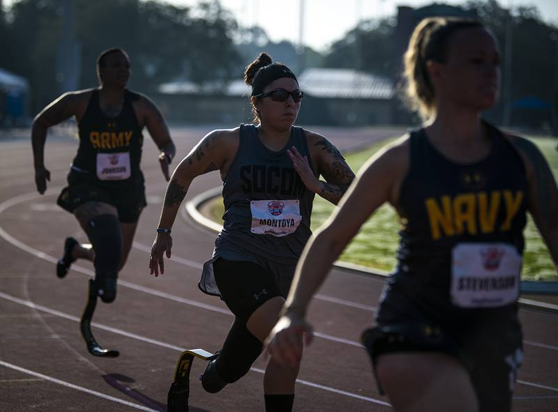 Lauren Montoya, of Team Special Operations Command, competes in the track competition at the University of South Florida track and field stadium in Tampa, Fla., on June 22 during the 2019 DoD Warrior Games.
