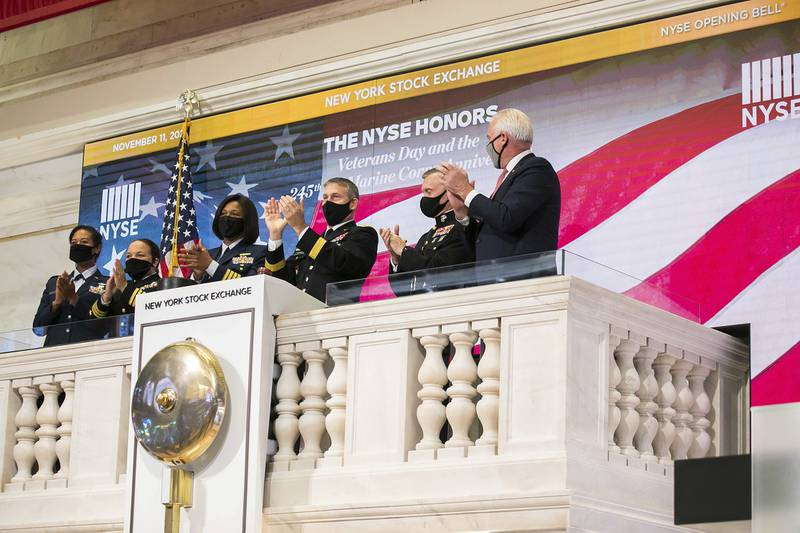 Members of the U.S. Coast Guard, Air Force, Navy and Army ring the opening bell at the New York Stock Exchange on Veterans Day, Wednesday, Nov. 11, 2020, in New York.