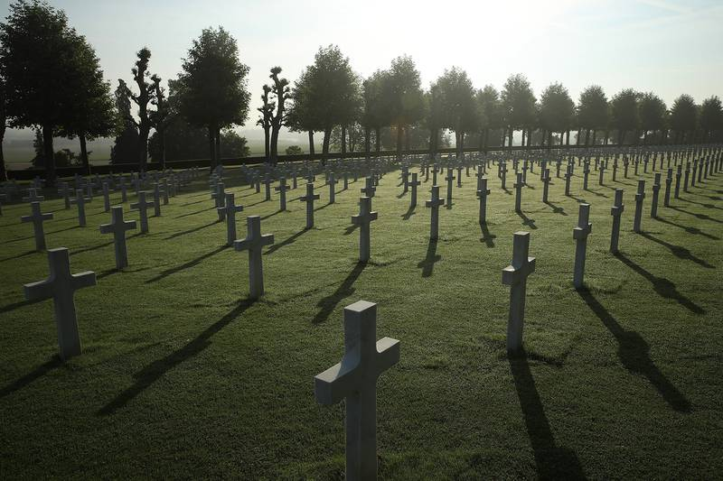 Crosses mark the graves of U.S. service members, most of them killed in the Battle of Belleau Wood, at the Aisne-Marne American Cemetery on May 25, 2018, in France.