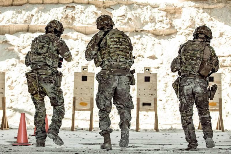 U.S. Army soldiers perform firing drills at a range on Al Asad Air Base, Iraq, Aug. 5, 2020.