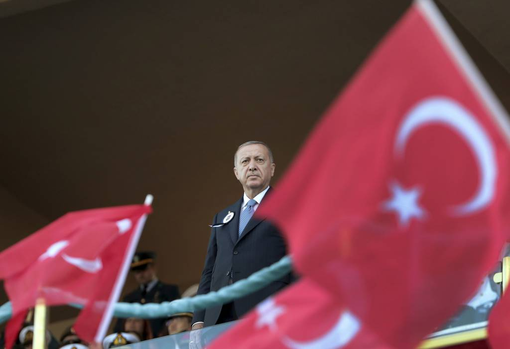 Turkey's President Recep Tayyip Erdogan attends a graduation ceremony of a military academy in Istanbul, Saturday, Aug. 31, 2019.