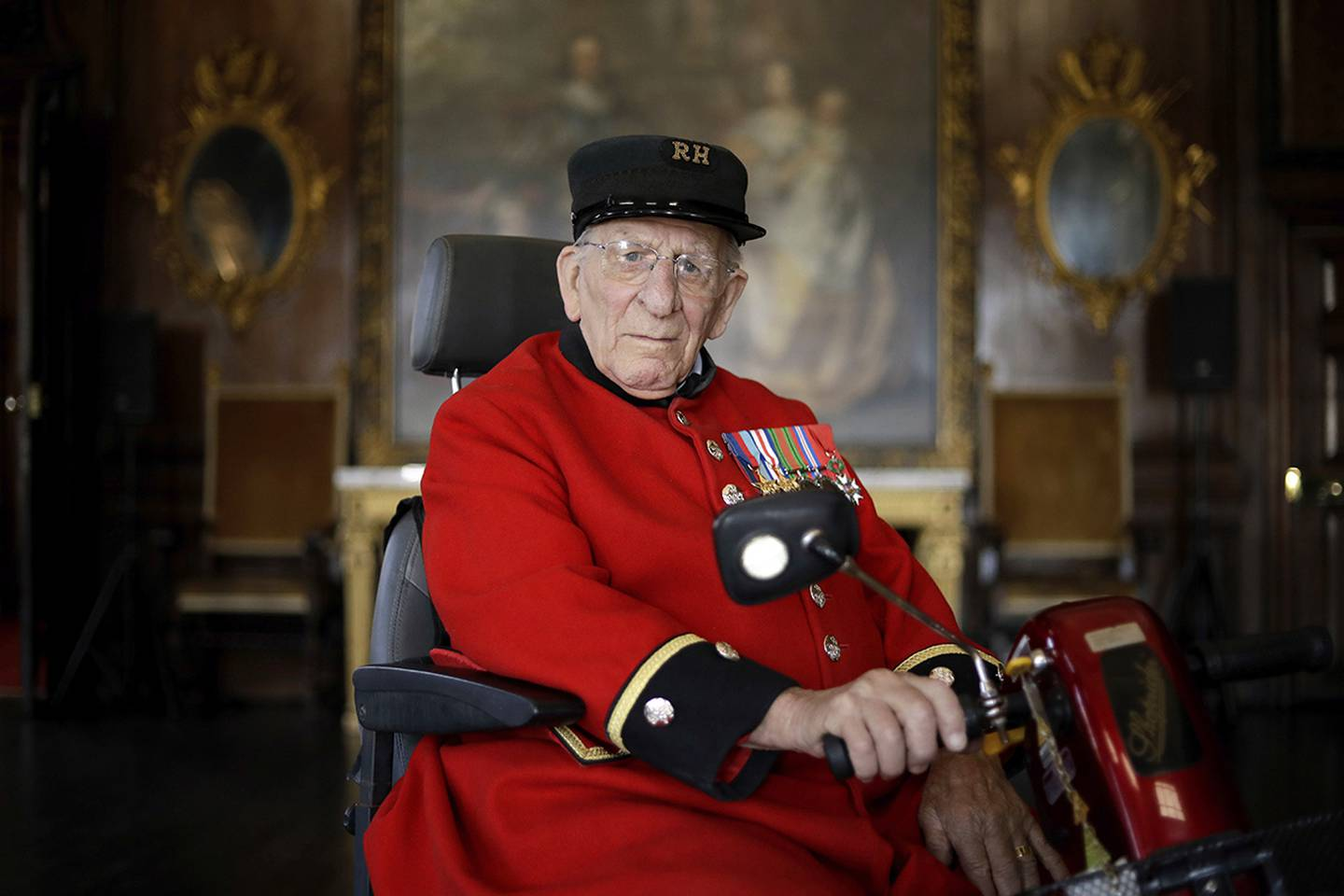British D-Day veteran Frank Mouque poses for a portrait during a 75th anniversary D-Day event.