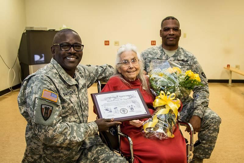 Maj. Gen. Lester Simpson, Elizabeth Laird and Command Sgt. Maj. John Sampa