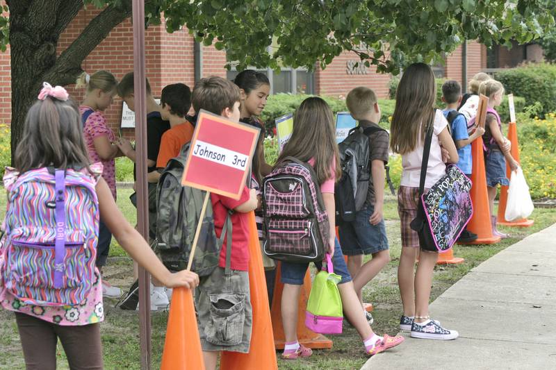 Students at Fort Bragg's Bowley Elementary School line up by class in the front of the school as they wait for their parents to pick them up after the first day of school in 2008.