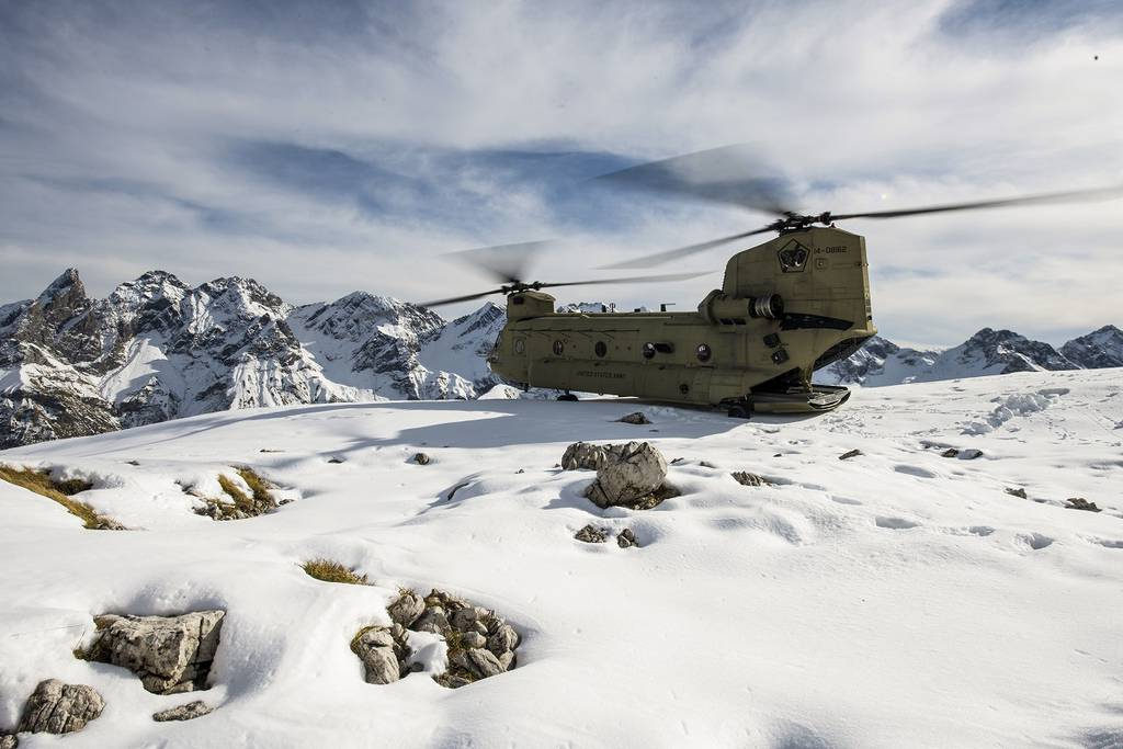 A CH-47F Chinook perches on a mountain in the Alps in Germany, Oct. 21, 2020.