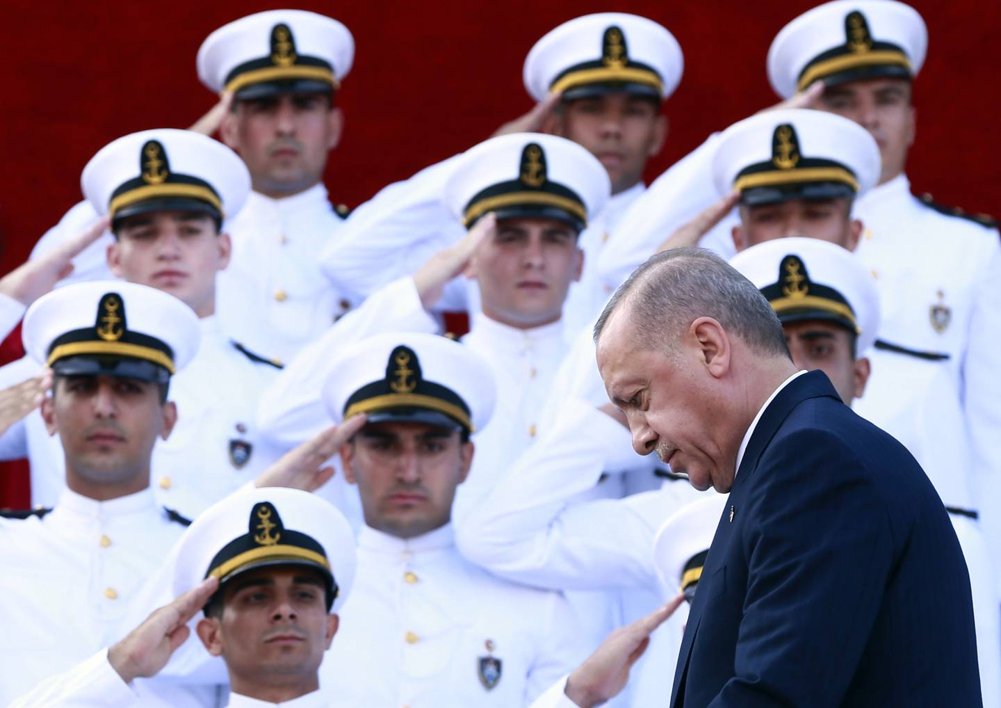 Turkey's President Recep Tayyip Erdogan, arrives to deliver a speech to graduates of a military academy in Istanbul, Saturday, Aug. 31, 2019.