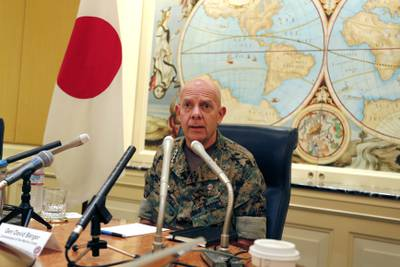 Gen. David Berger, the new U.S. Marines commandant, speaks during a press conference in Tokyo, Wednesday, Aug. 21, 2019.