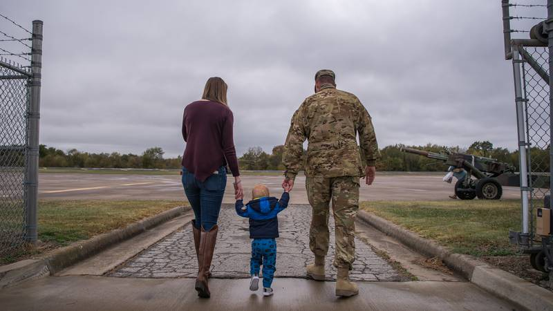 Family and friends welcome soldiers home, Oct. 19, 2020, at Army Aviation Support Facility, Tusla, Okla.
