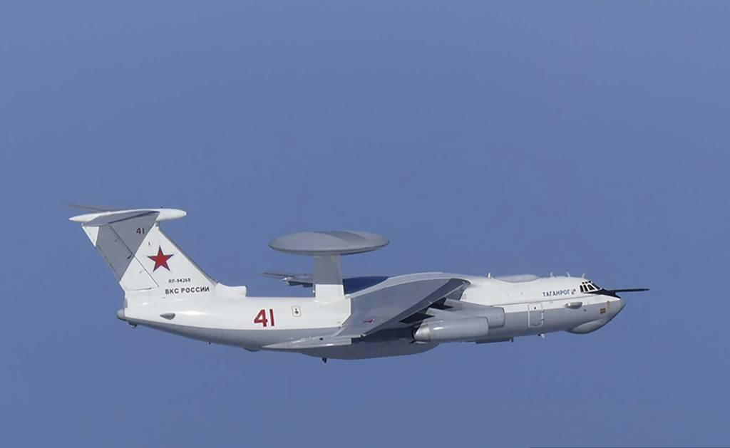 This image released by Joint Staff, Ministry of Defense, shows Russian A-50 airborne early warning and control aircraft flying near a Korean-controlled island