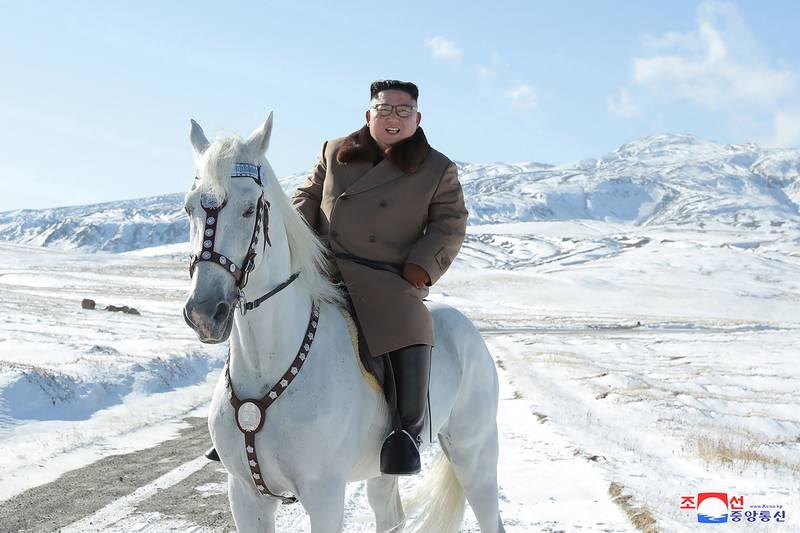 Kim Jong Un rides a white horse