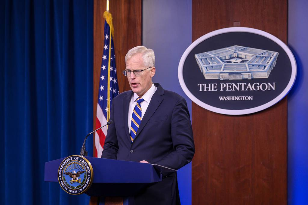 Acting Defense Secretary Christopher Miller briefs reporters from the Pentagon on Nov.  17, 2020. (Air Force Staff Sgt. Jack Sanders/DoD)