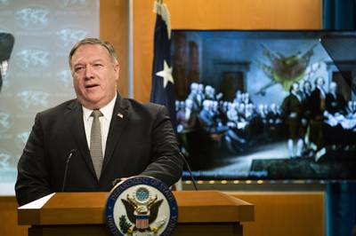 Secretary of State Mike Pompeo, speaks during a news conference at the State Department on July 1, 2020, in Washington.