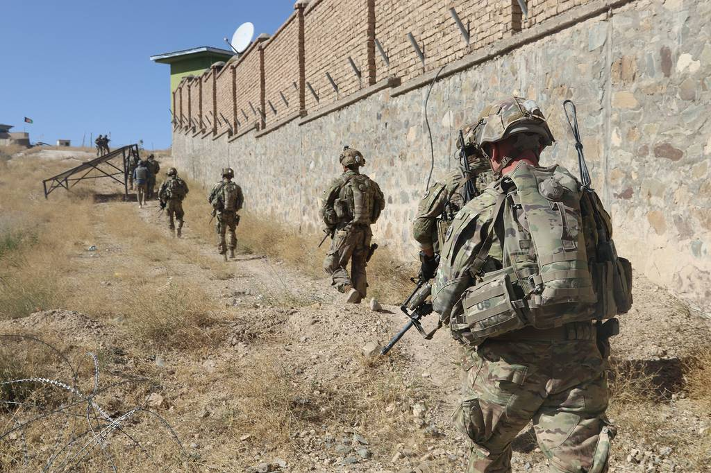 Soldiers conduct security following an advise-and-assistance mission Sept. 17, 2019, in southeastern Afghanistan.
