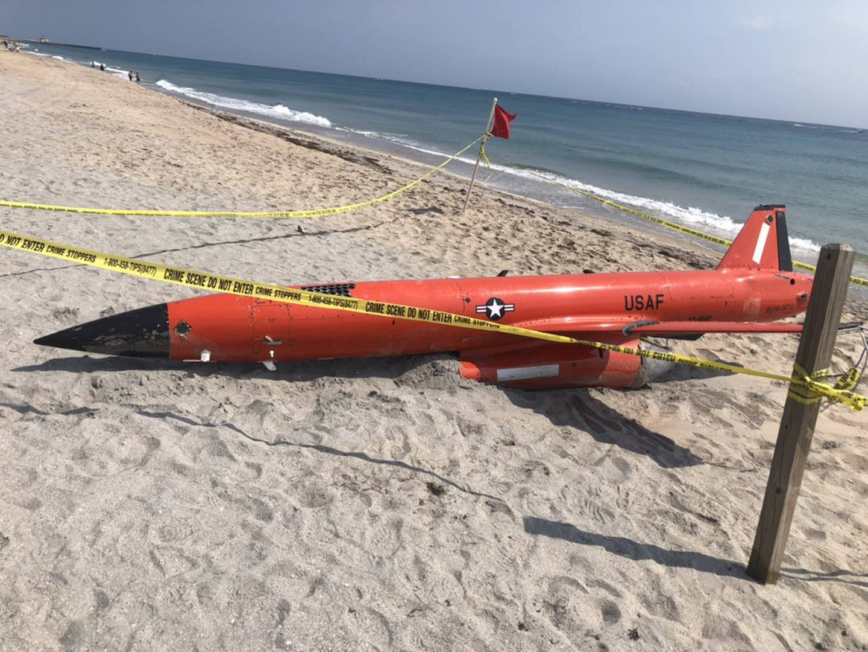 A U.S. Air Force BQM-167A aerial target drone washes ashore in Boynton Beach, Fla., on March 19, 2021. (Miranda Christian/WPTV)
