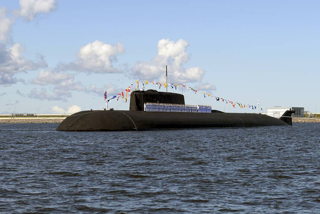 The Russian nuclear-powered cruise missile submarine K-266 Orel attends the military parade during the Navy Day celebration in Kronshtadt outside St. Petersburg, Russia, Sunday, July 26, 2020.