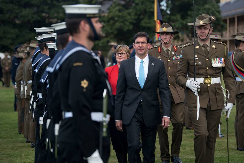 U.S. Secretary of Defense Mark Esper is hosted by Australian Minister of Defence Linda Reynolds in an honor guard ceremony at the Victoria Barracks, Sydney, Australia, Aug. 4, 2019.