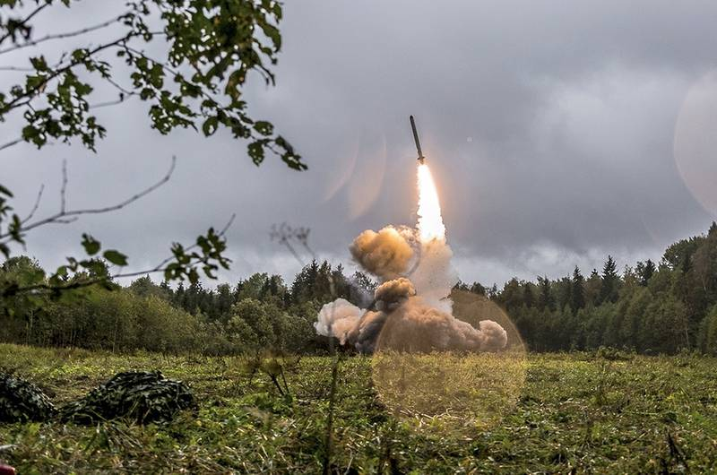 This undated file photo by Russian Defense Ministry official web site shows a Russian Iskander-K missile launched during a military exercise at a training ground at the Luzhsky Range, near St. Petersburg, Russia.