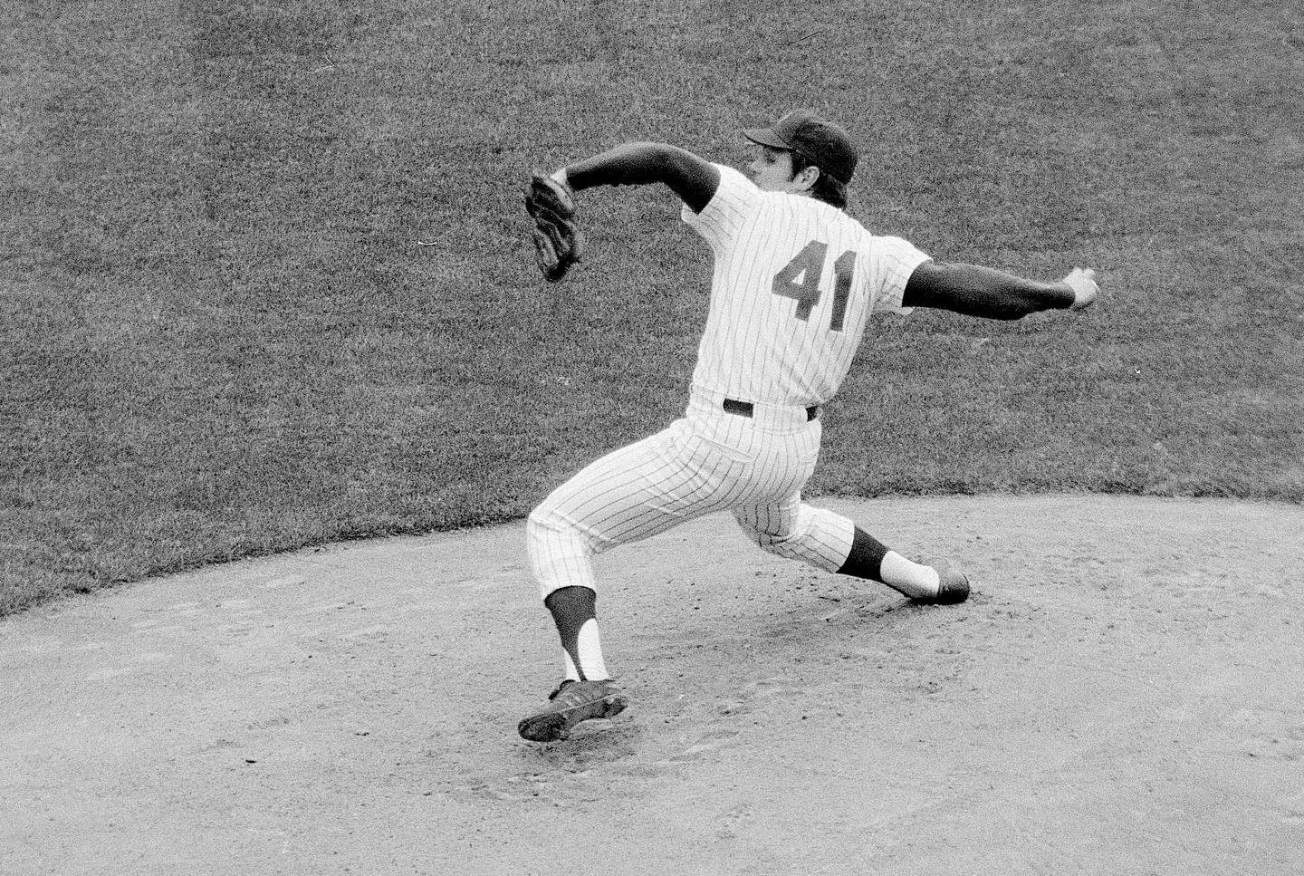 In this April 20, 1967, file photo, New York Mets' Tom Seaver pitches against the Chicago Cubs in a baseball game at Shea Stadium in New York.