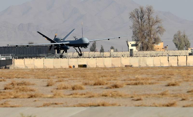 An MQ-9 Reaper lands on the runway Nov. 27, 2017, at Kandahar Airfield, Afghanistan.