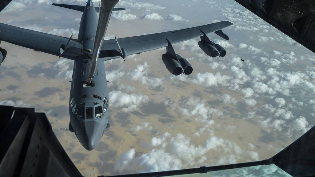 A KC-10 Extender refuels a U.S. Air Force B-52 Stratofortress mission over the U.S. Central Command area of responsibility, Jan. 17, 2021.