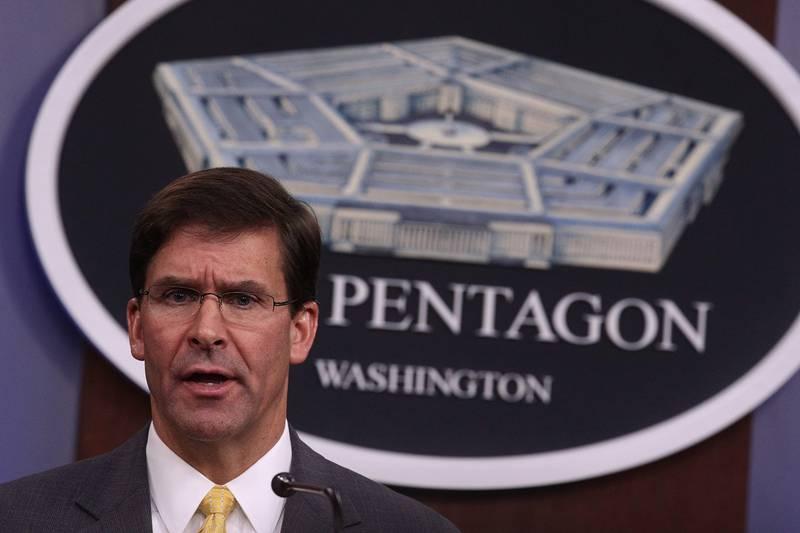 Secretary of Defense Mark Esper holds a media briefing at the Pentagon on Aug. 28, 2019, in Arlington, Va.