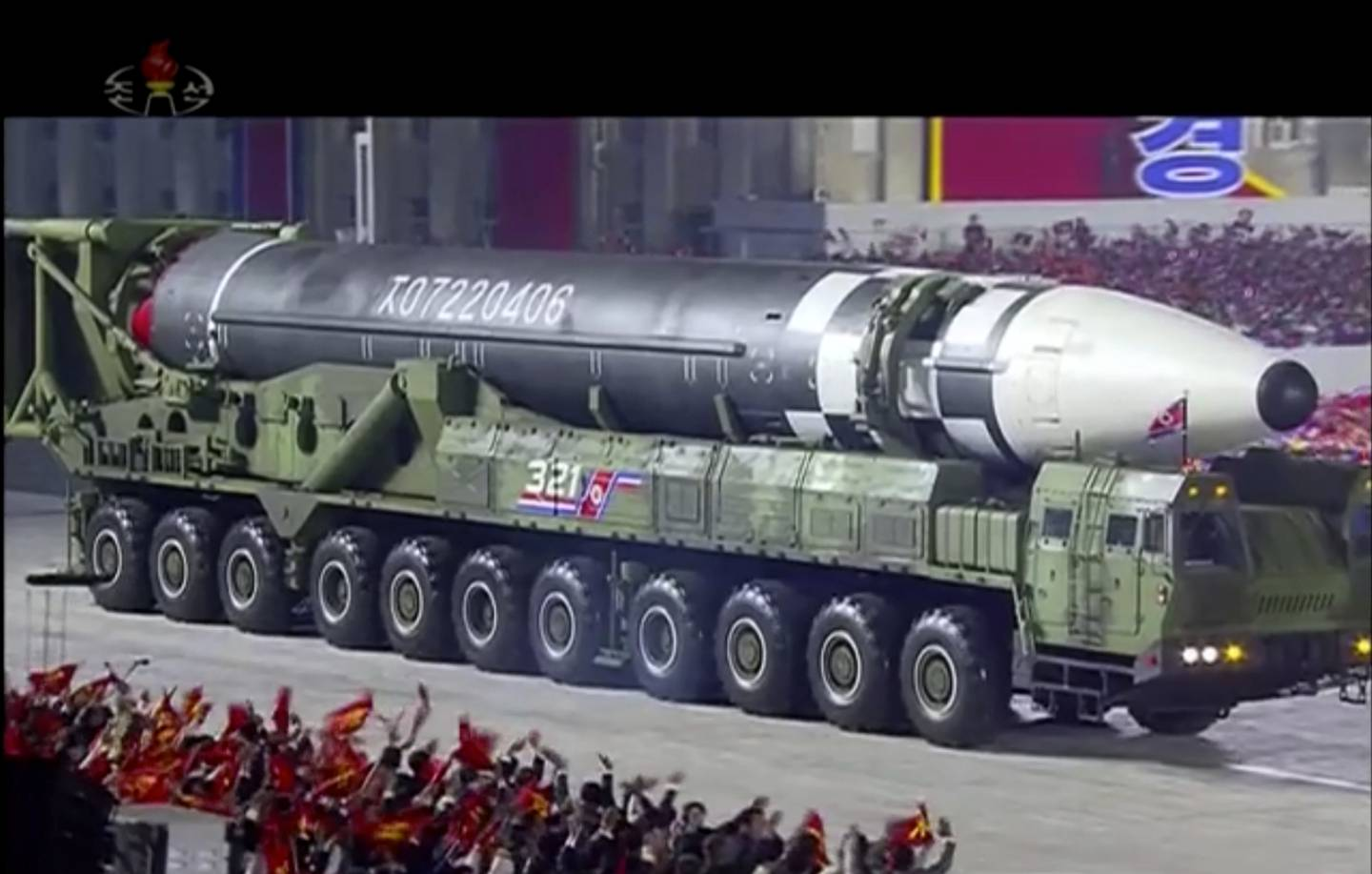 This image made from video broadcast by North Korea's KRT, shows a military parade with what appears to be possible new intercontinental ballistic missile at the Kim Il Sung Square in Pyongyang, Oct. 10, 2020.
