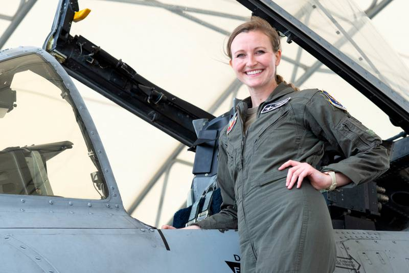 U.S. Air Force Capt. Taylor Bye, 75th Fighter Squadron pilot and chief of standardization and evaluation, poses on the flight line at Moody Air Force Base, Georgia, May 5, 2021. Bye successfully landed an A-10C Thunderbolt II with minimal damage during an in-flight emergency last year, earning her the Air Combat Command Airmanship Award. (Air Force/Airman 1st Class Briana Beavers)