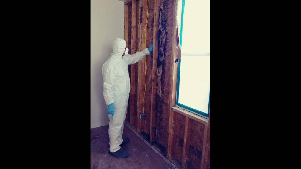 Sgt. 1st Class Jesus Joseph Brown dons a hazmat suit to look at his house at Fort Hood after it was opened up for mold repairs.