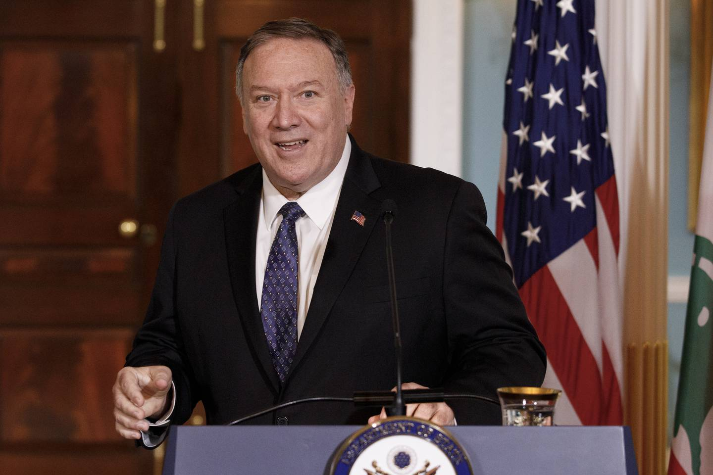 In this Aug. 15, 2019, file photo, Secretary of State Mike Pompeo speaks to media during a news conference with Lebanese Prime Minister Saad Hariri at the State Department in Washington.