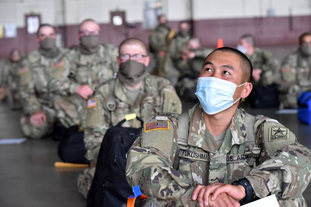 BCT Soldiers transported via contracted commercial airplane to the U.S. Army Medical Center of Excellence