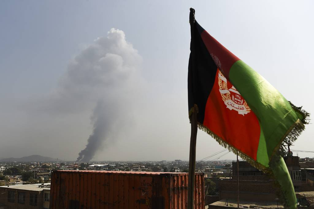 Smoke rises from the site of an attack after a massive explosion the night before near the Green Village in Kabul, Afghanistan, on Sept. 3, 2019.