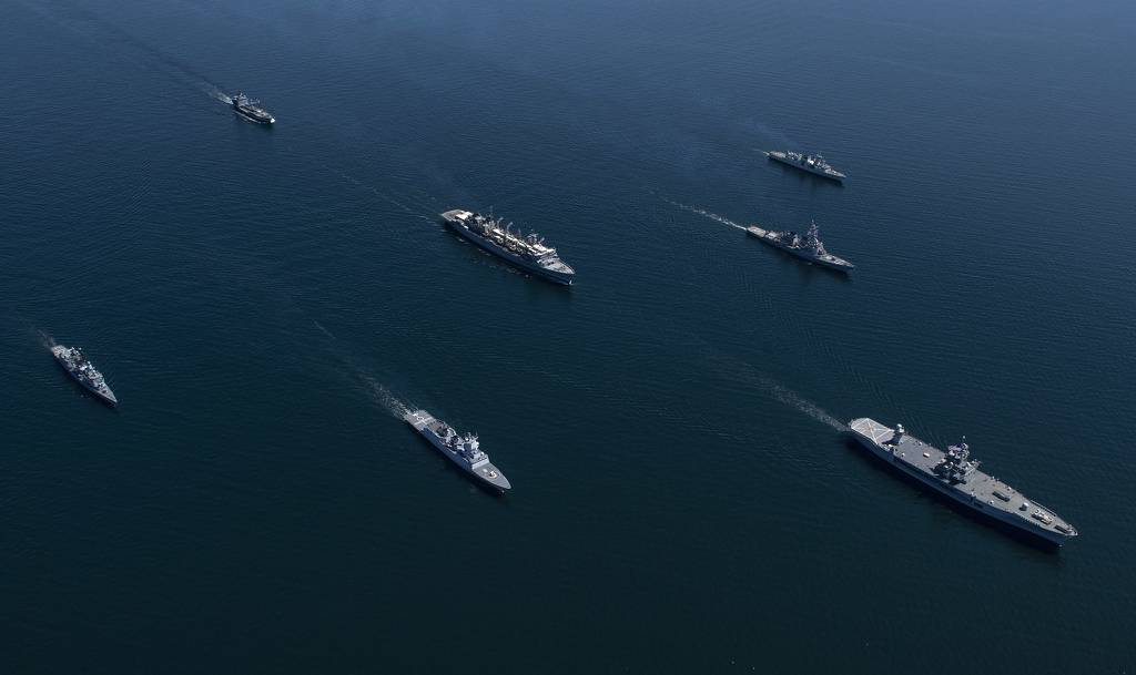Ships from nations participating in exercise Baltic Operations (BALTOPS) 2020 sail in formation while in the Baltic Sea, June 8, 2020.