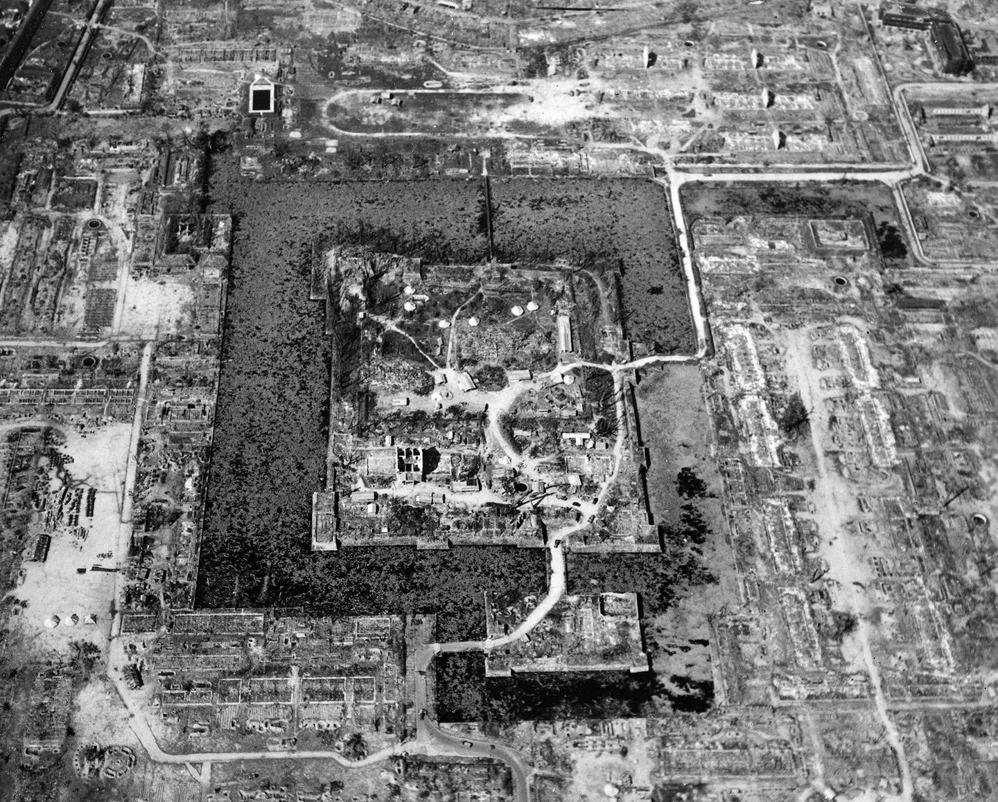 This Aug. 6, 1945, file photo released by the U.S. Air Force shows the total destruction of Hiroshima, Japan, as the result of the first atomic bomb dropped.