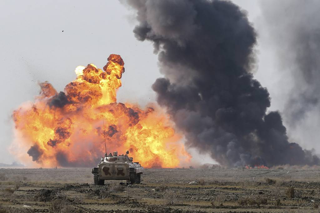 This photo released Tuesday, Jan. 19, 2021, by the Iranian Army, shows a military drill.